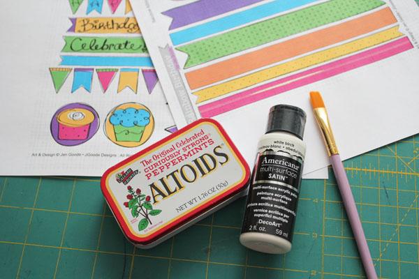 Altoids Tin Gift Box supplies