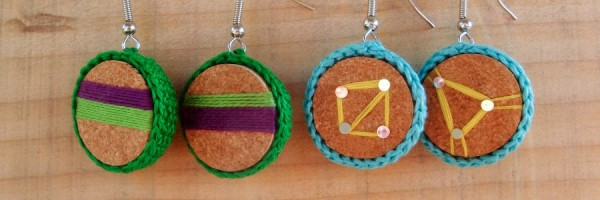 Earrings made from wine corks