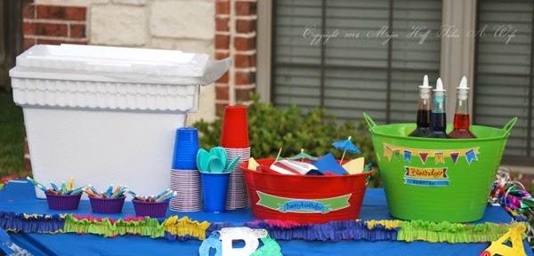 Hawaiian Shaved Ice Birthday Party Table Display