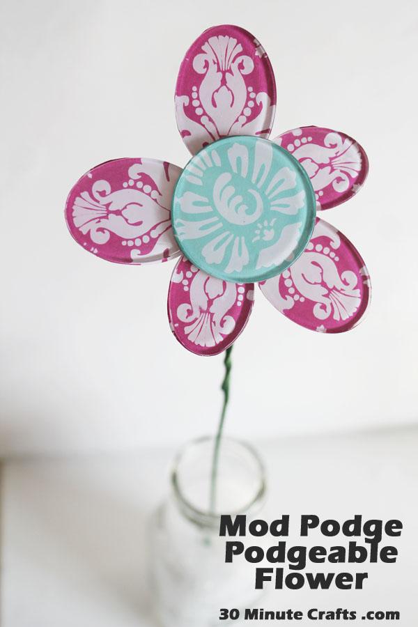 Mod Podge Podgeable Shapes flower on 30 Minute Crafts - Copy