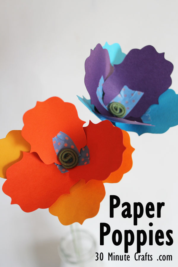 Paper Poppies tutorial at 30 Minute Crafts