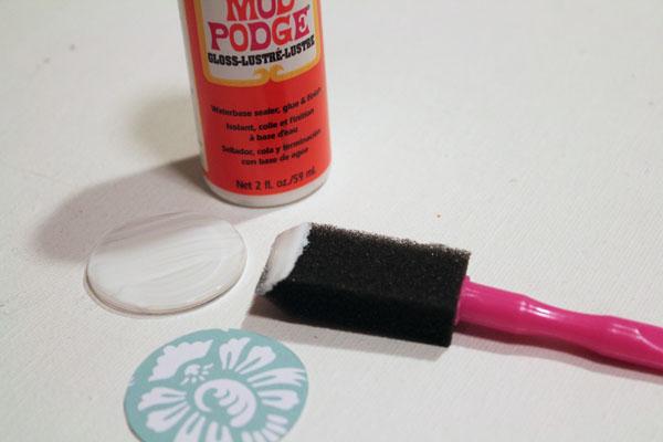 brush on Mod Podge