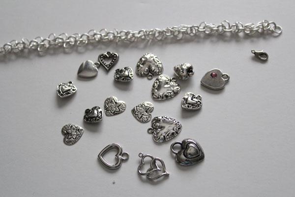 Make a heart charm bracelet