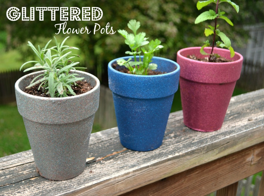 glittered flower pots