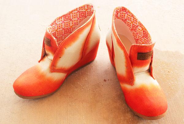 orange on dyed shoes