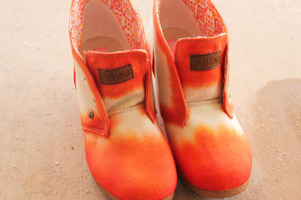 orange tipped dyed shoes