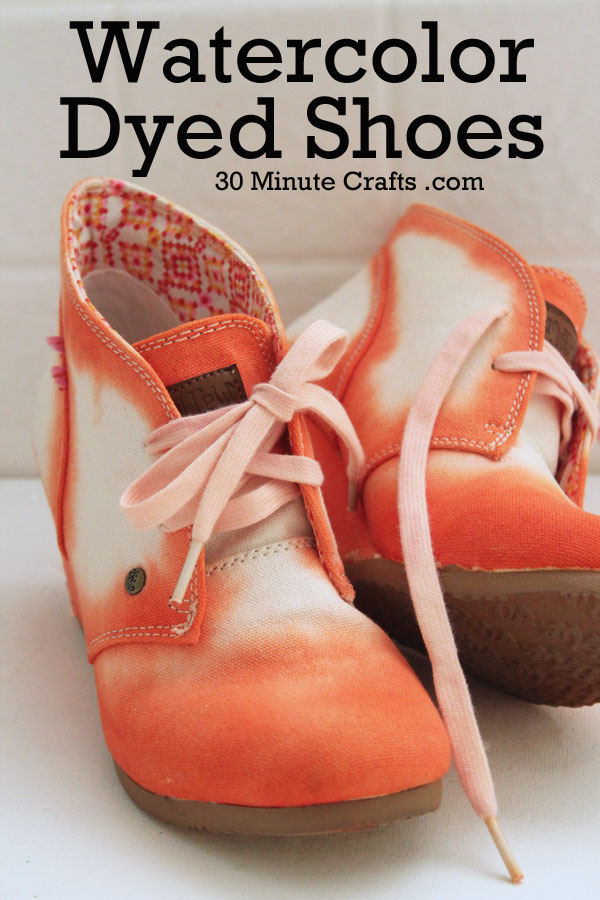 orange watercolor dyed shoes