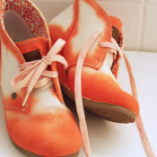 orange watercolor shoes