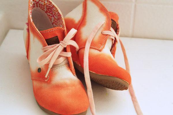 orange watercolor shoes