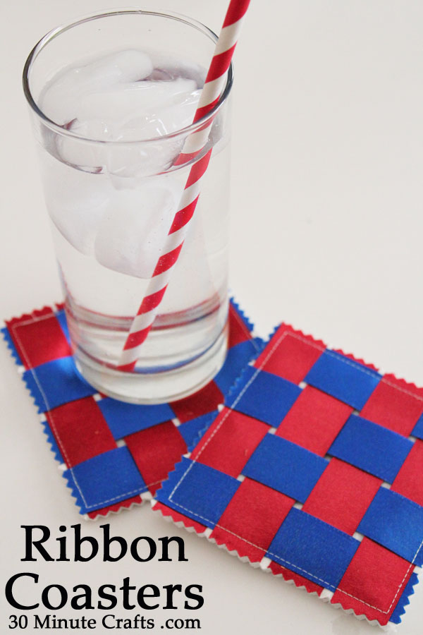 DIY woven ribbon coasters on 30 Minute Crafts