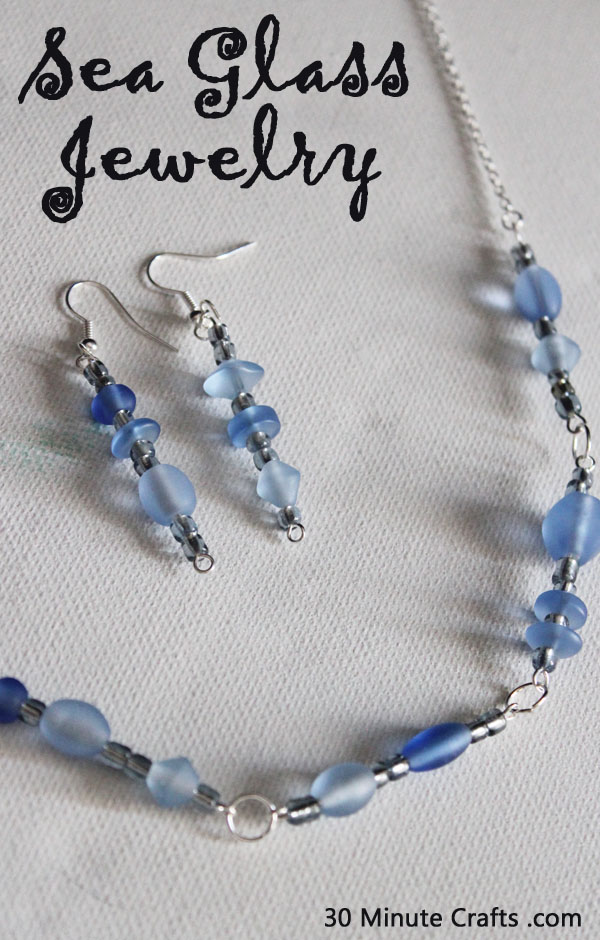 Necklace and earrings for under 10 sea glass jewelry diy aloadofball Choice Image