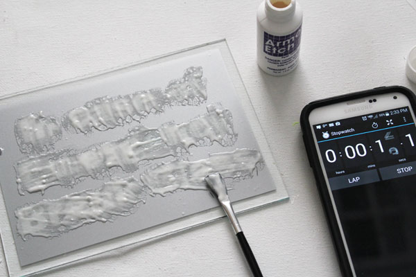 apply glass etching cream