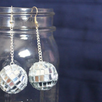 make your own mirror ball earrings