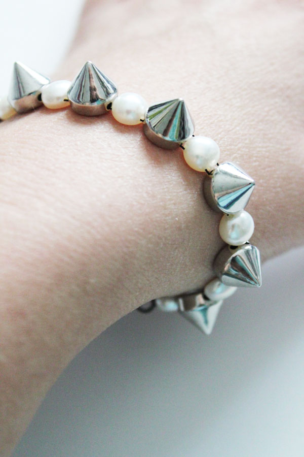 make your own pearl and stud bracelet