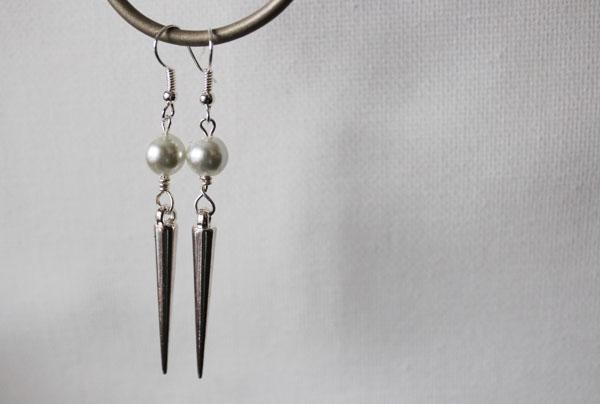 pearl and stud dangle earrings