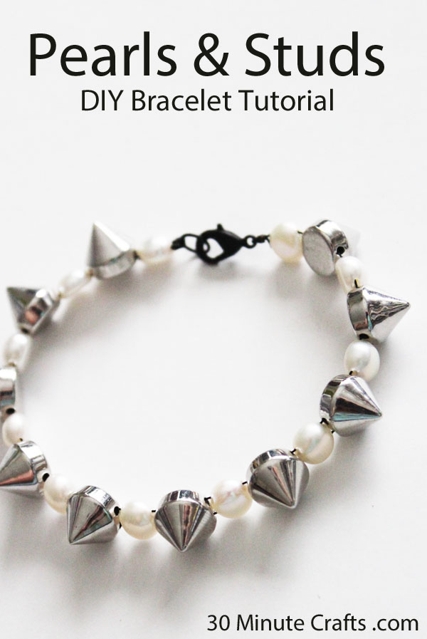 pearls and studs DIY bracelet tutorial