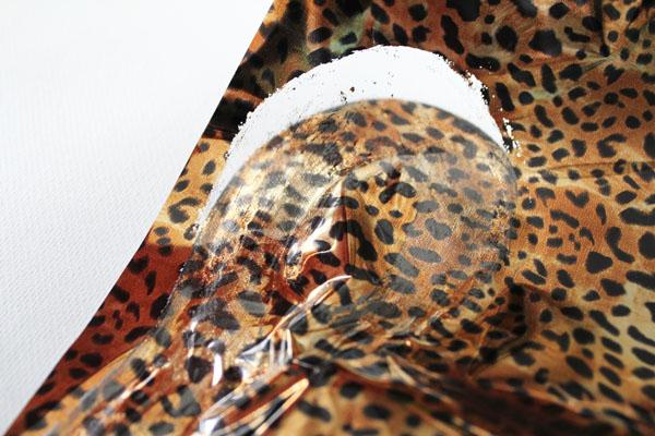 peel away plastic leaving leopard print behind