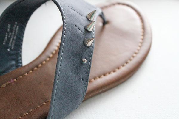 studs put onto sandals