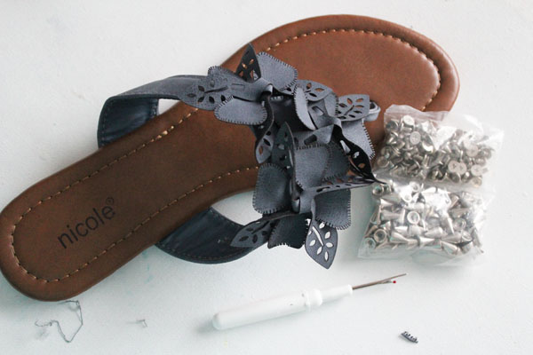 supplies for DIY studded sandals