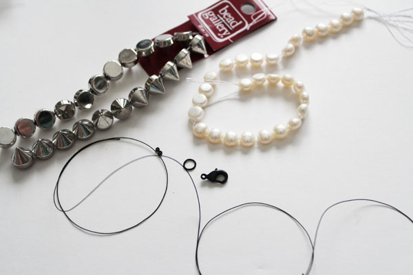 supplies for pearls and studs bracelet