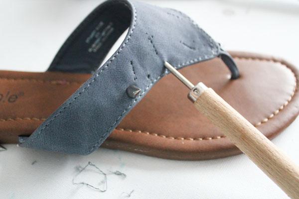 use awl to make holes