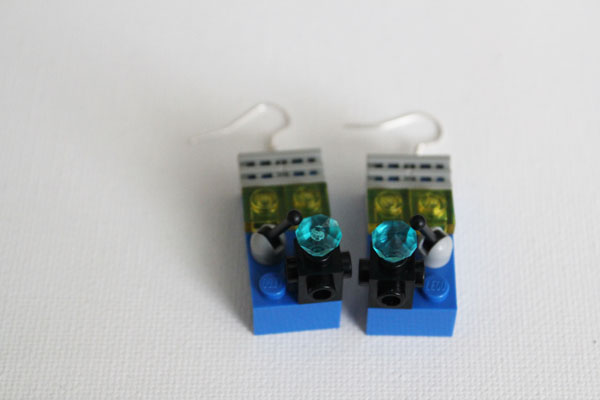 Lego earrings with extra lego pieces