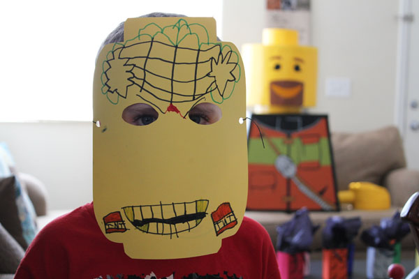 Make a Lego Head Party Mask