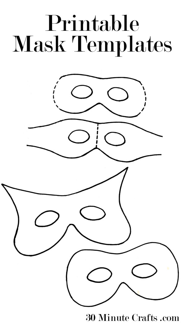 graphic relating to Printable Mask Templates named Printable Halloween Mask Templates - 30 Moment Crafts