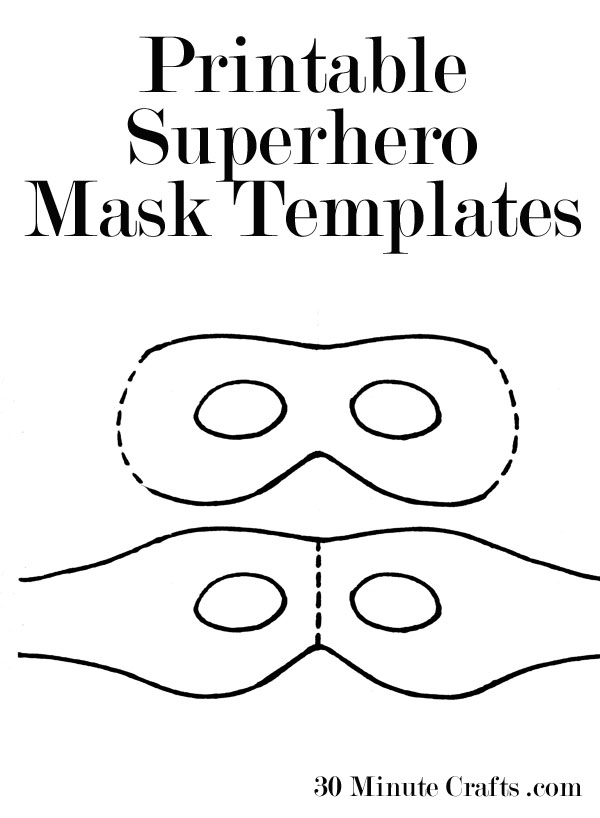 picture about Printable Superhero Masks titled Printable Halloween Mask Templates - 30 Moment Crafts