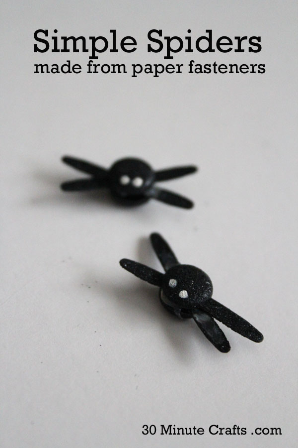 Simple Spiders made from paper fasteners