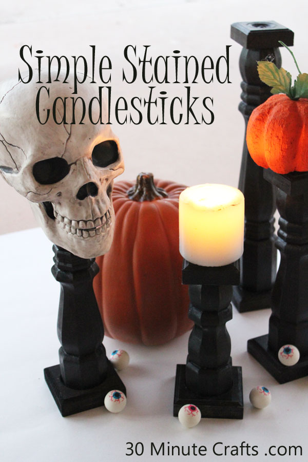 Simple Stained Candlesticks using Minwax stains