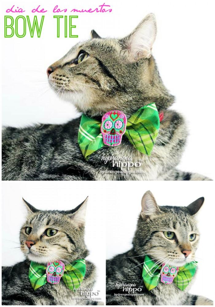 dia de los muertos bow tie