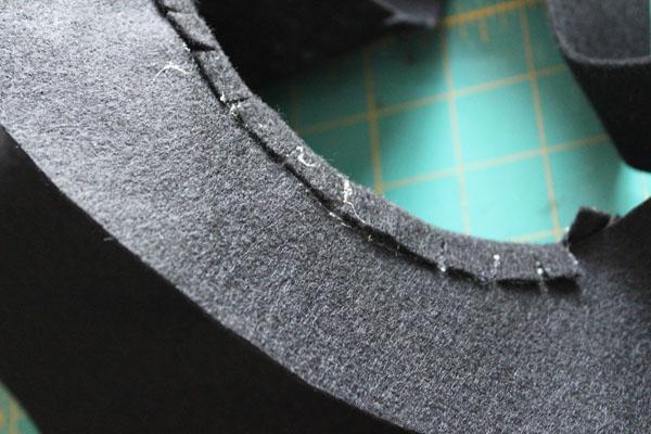 glue fringe on inside of hat