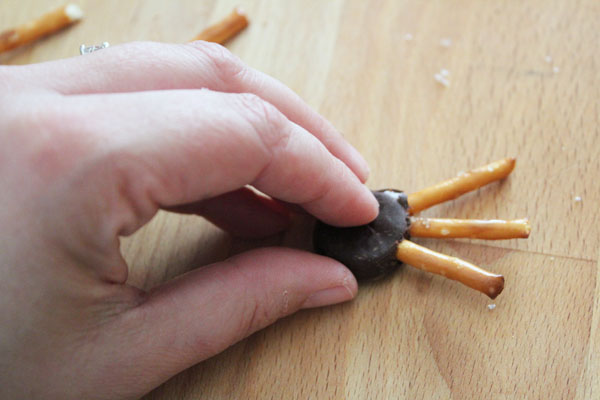 insert half pretzels into peppermint patties