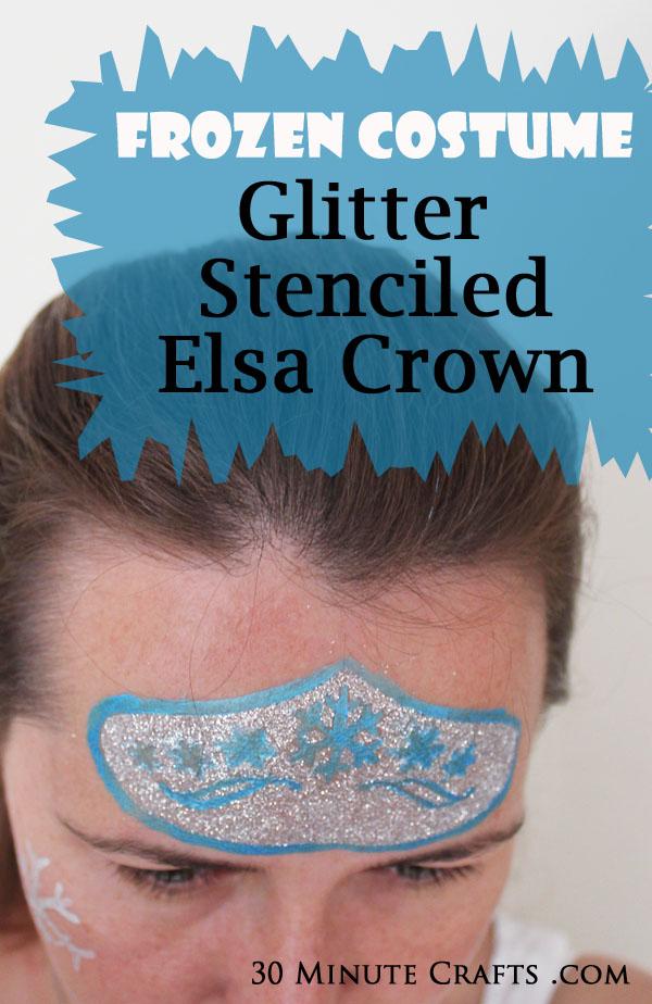 Frozen Costume - Glitter stenciled Elsa Crown