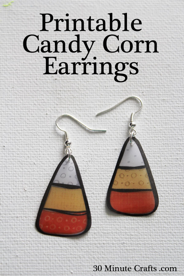 Printable Candy Corn Earrings
