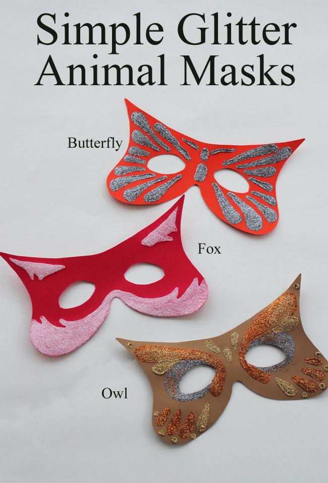 Simple Glitter Animal Masks