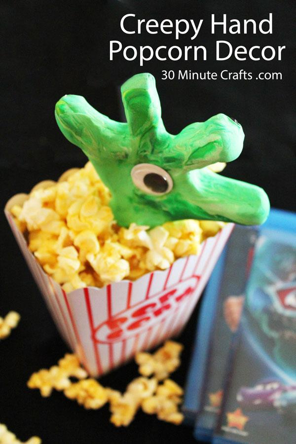 creepy hand popcorn decor