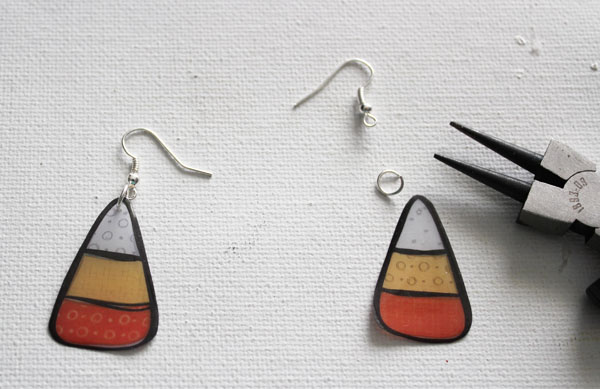 earrings from printable candy corn images