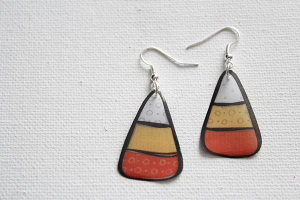 make your own printable candy corn earrings