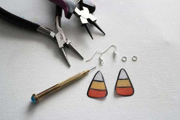 supplies for printable candy corn earrings