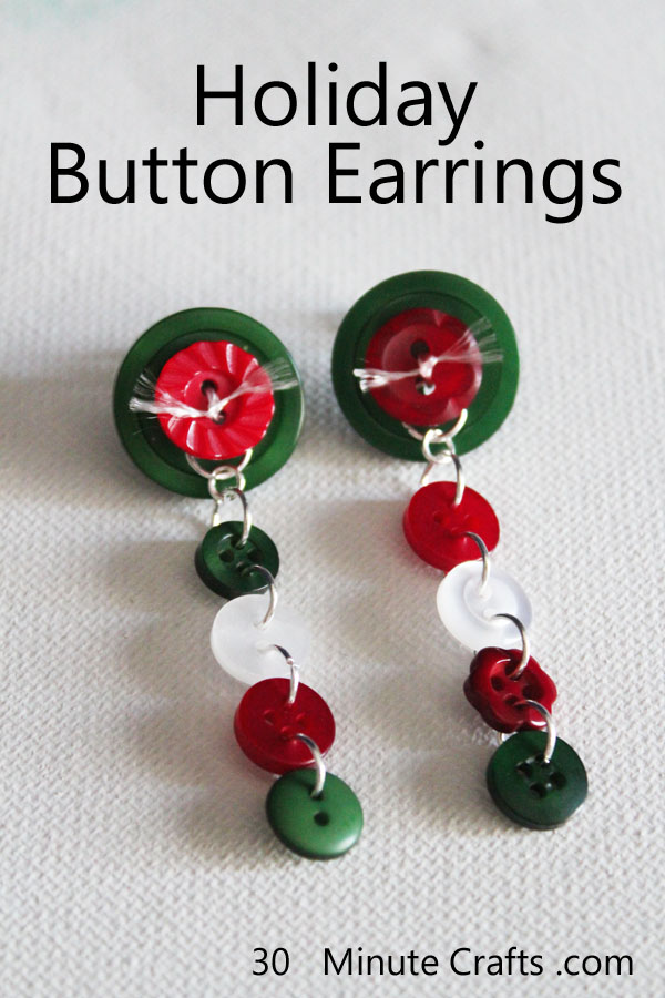 Holiday Button Earrings on 30 Minute Crafts