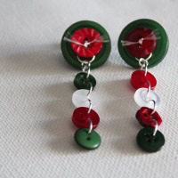finished holiday button earrings