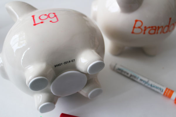 write on piggy bank