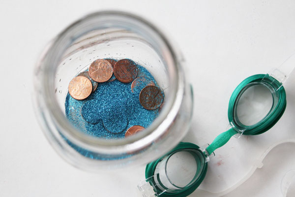 fill jar with pennies and glitter