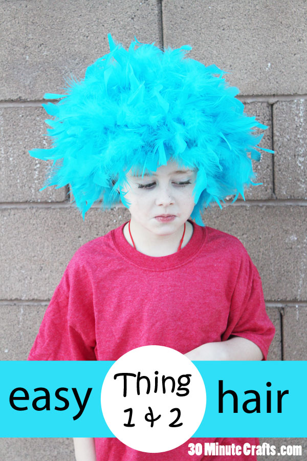 Easy DIY Thing 1 and Thing 2 Hair from Dr Seuss Cat in the Hat 8ceb36008e
