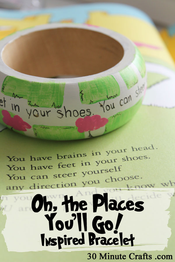Oh the Places You'll go Inspired Painted Bracelet