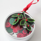 finished button tin ornament