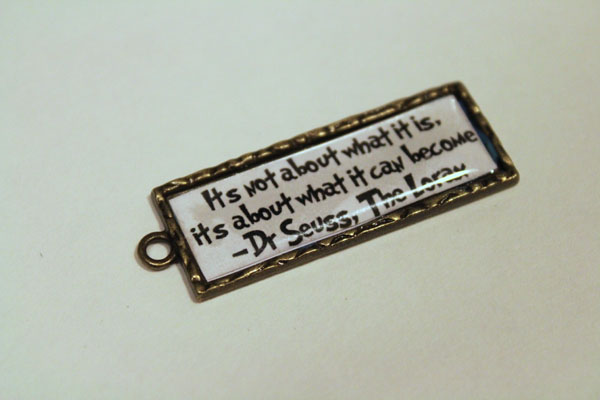 finished quote charm