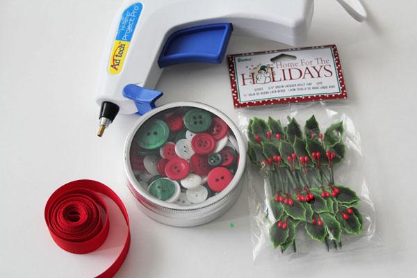 supplies for button tin ornament